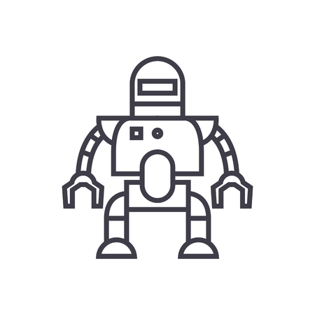 industrial robot vector line icon, sign, illustration on white background, editable strokes