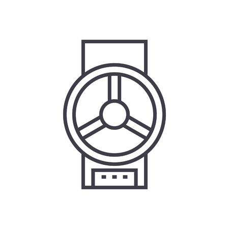 industrial valve  vector line icon, sign, illustration on white background, editable strokes 向量圖像