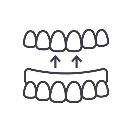 implanted teeth vector line icon, sign, illustration on white background, editable strokes Illustration