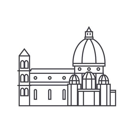 イタリア、寺院、フィレンツェ大聖堂のベクター線のアイコン、記号、白い背景に、編集可能なストロークの図