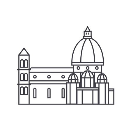 italy, temple, florence cathedral vector line icon, sign, illustration on white background, editable strokes