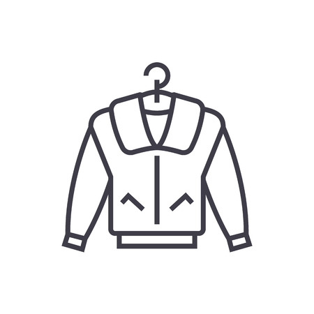 jacket vector line icon, sign, illustration on white background, editable strokes