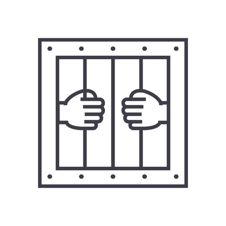 jail vector line icon, sign, illustration on white background, editable strokes