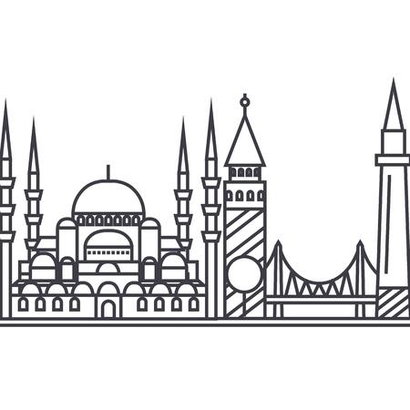 istambul vector line icon, sign, illustration on white background, editable strokes Illustration