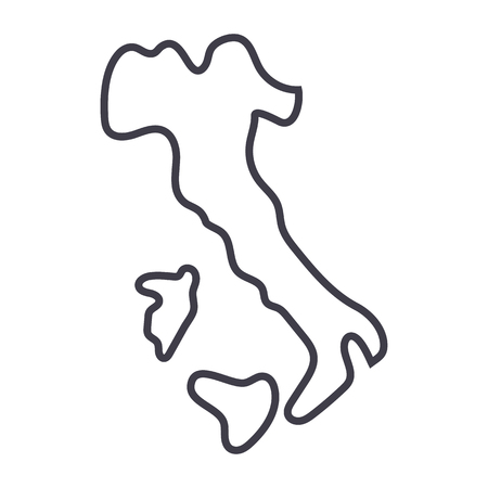 italy vector line icon, sign, illustration on white background, editable strokes