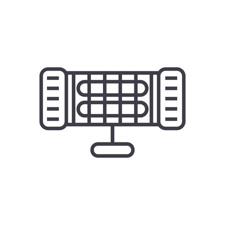 infrarood verwarming vector lijn pictogram, teken, illustratie op witte achtergrond, bewerkbare lijnen Stock Illustratie