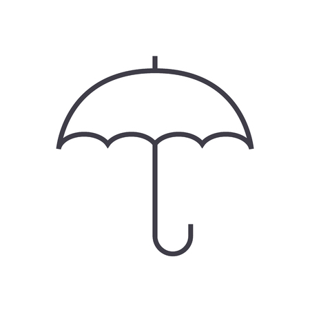 insurance, umbrella vector line icon, sign, illustration on white background, editable strokes