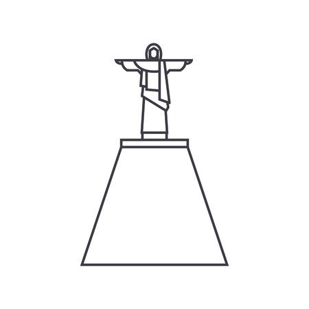 jesus statue vector line icon, sign, illustration on white background, editable strokes Ilustração
