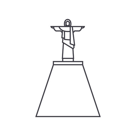 jesus statue vector line icon, sign, illustration on white background, editable strokes Illustration