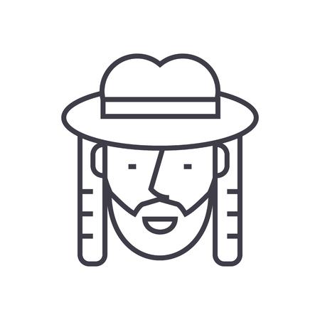 jewish vector line icon, sign, illustration on white background, editable strokes Illustration