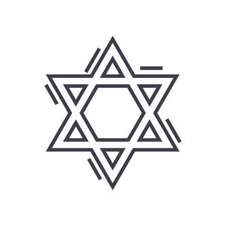 jewish david star vector line icon, sign, illustration on white background, editable strokes Illustration
