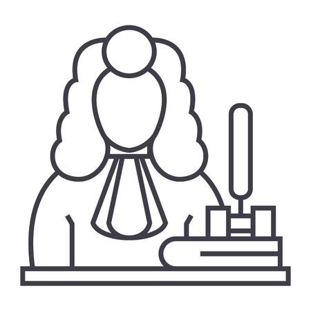 裁判官、小槌ベクトル線アイコン、記号、白い背景に、編集可能なストロークの図