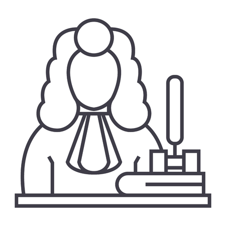 judge,gavel  vector line icon, sign, illustration on white background, editable strokes