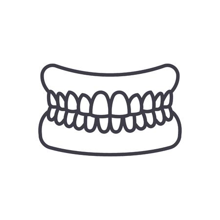 歯のベクトル線アイコン、記号、白の背景にイラスト、編集可能なストロークを持つ顎 写真素材 - 87284886