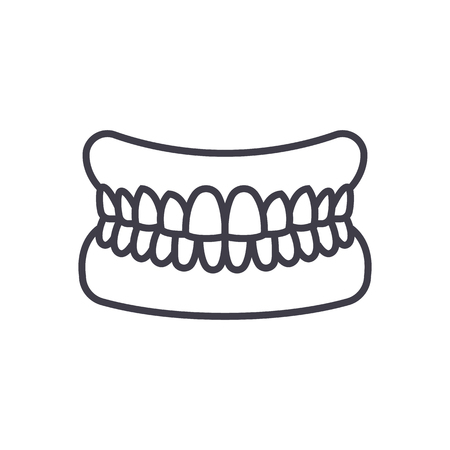 jaw with teeth vector line icon, sign, illustration on white background, editable strokes