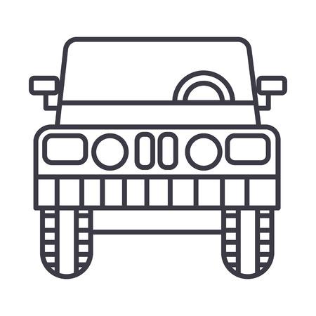 Front view automobile icon on white backdrop.