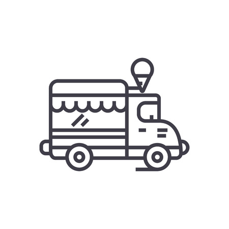 ice cream, food truck vector line icon, sign, illustration on white background, editable strokes