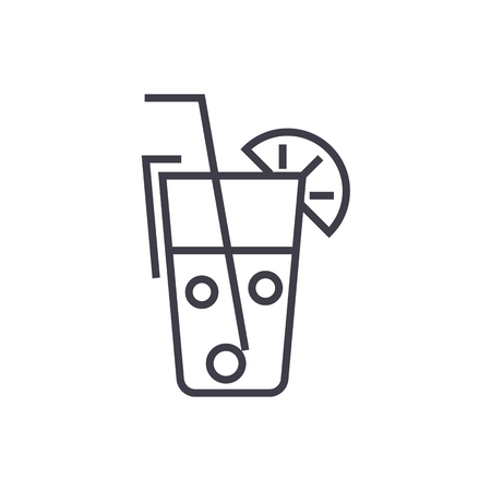 juice glass,drinks vector line icon, sign, illustration on white background, editable strokes