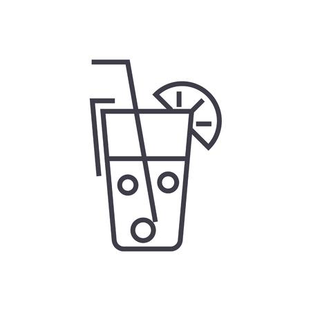 Verre à jus, icône de vecteur ligne boissons, signe, illustration sur fond blanc, traits modifiables Banque d'images - 87284896