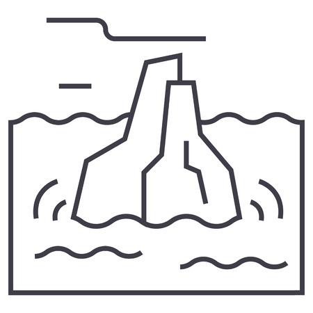 ijsberg vector lijn pictogram, teken, illustratie op witte achtergrond, bewerkbare lijnen Stock Illustratie