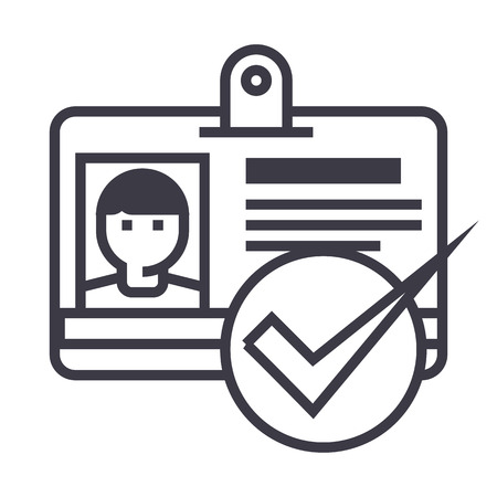 id, pass,permit vector line icon, sign, illustration on white background, editable strokes