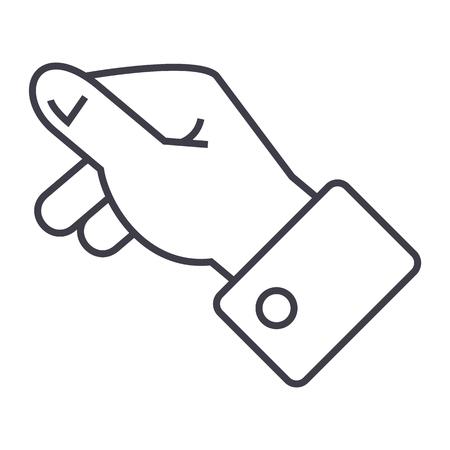 Manteniendo el icono de línea de vector de mano, signo, ilustración sobre fondo blanco, trazos editables Foto de archivo - 87284901