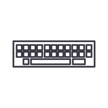 electronic background: Keyboard line icon, sign, illustration on white background, editable strokes