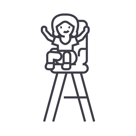 Kid in child chair line icon, sign, illustration on white background, editable strokes Illustration