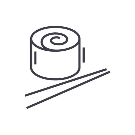 japan restaurant, sushi roll line icon, sign, illustration on white background, editable strokes