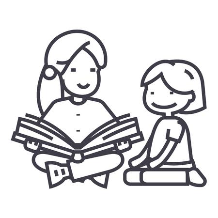 幼稚園の先生、女性の読書本を女の子ラインのアイコン、記号、白のイラスト、編集可能なストローク
