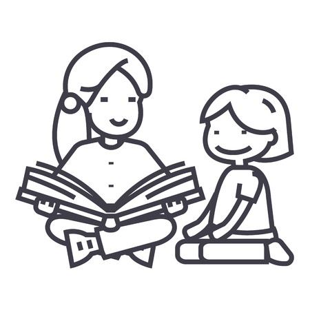 child sitting: kindergarten teacher,woman reading book to girl line icon, sign, illustration on white , editable strokes Illustration
