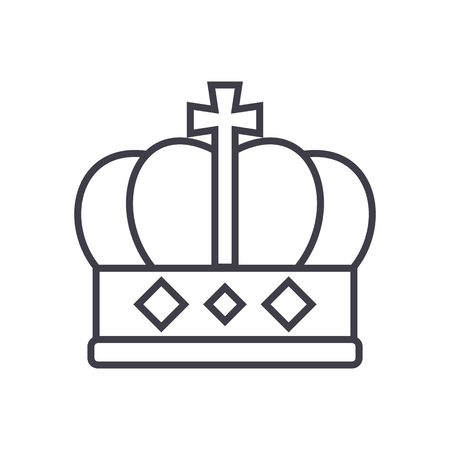 King crown  line icon, sign, illustration on white background, editable strokes