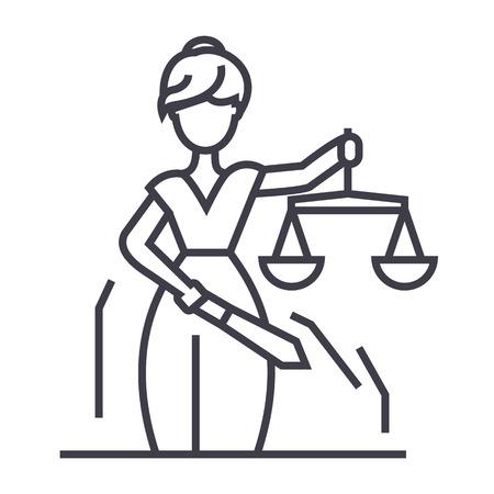 Rechtvaardigheid standbeeld lijn pictogram, teken, illustratie op witte achtergrond, bewerkbare streken Stock Illustratie