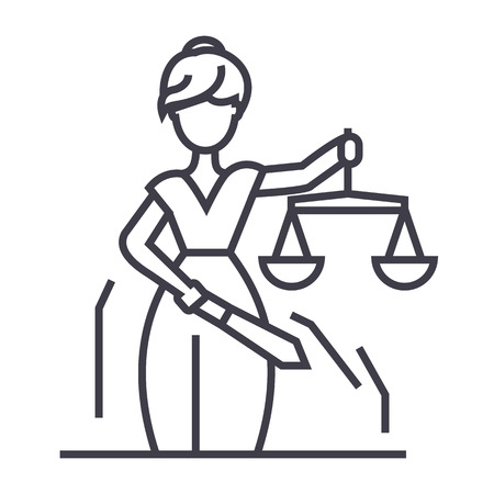 Justice statue line icon, sign, illustration on white background, editable strokes