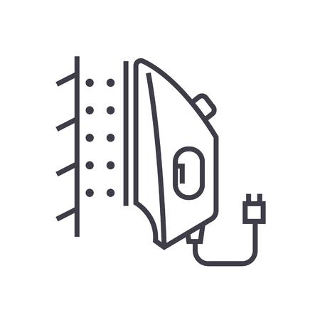 ijzeren stoomboot vector lijn icoon, teken, illustratie op een witte achtergrond, bewerkbare streken Stock Illustratie