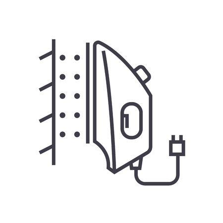 iron steamer vector line icon, sign, illustration on white background, editable strokes Ilustracja