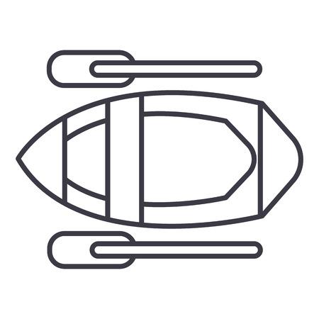 Kayak line icon, sign, illustration on white background, editable strokes