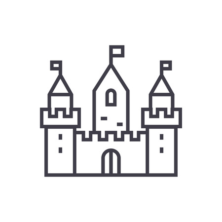 kingdom castle wtih three towers vector line icon, sign, illustration on white background, editable strokes