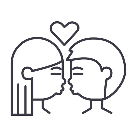 kissing couple vector line icon, sign, illustration on white background, editable strokes 向量圖像