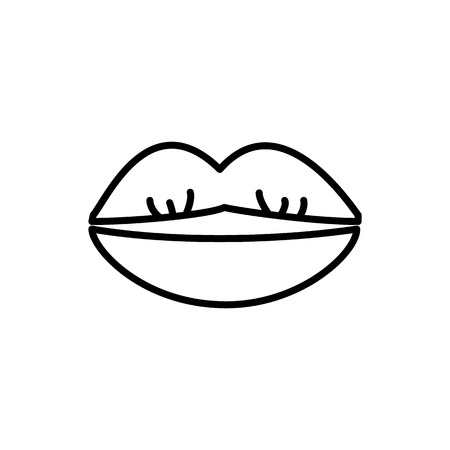 kissing lips vector line icon, sign, illustration on white background, editable strokes 向量圖像
