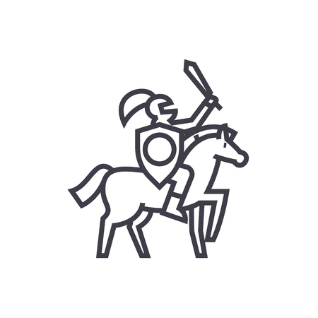 Knight vector line icon.
