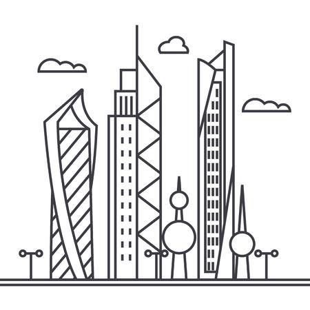 クウェート市ベクトル線アイコン、記号、白い背景、編集可能なストロークのイラスト