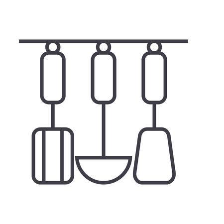 吊り下げ器具ベクトル線のアイコン, サイン, 白い背景に、編集可能なストロークの図