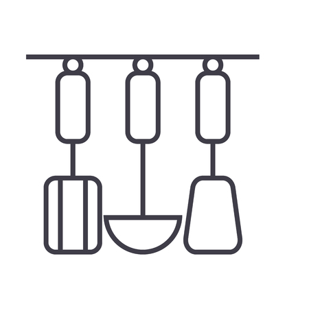 kitchen hanging utensils  vector line icon, sign, illustration on white background, editable strokes