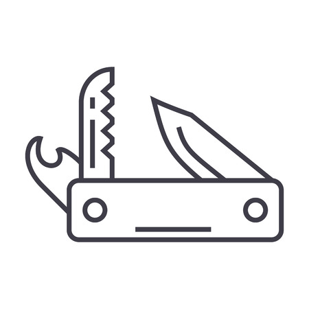 knife army, multipurpose tool,swiss folding knife vector line icon, sign, illustration on white background, editable strokes