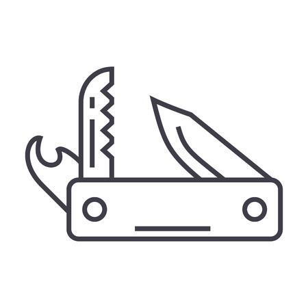 mes leger, multifunctionele tool, Zwitsers zakmes vector lijn pictogram, teken, illustratie op witte achtergrond, bewerkbare lijnen