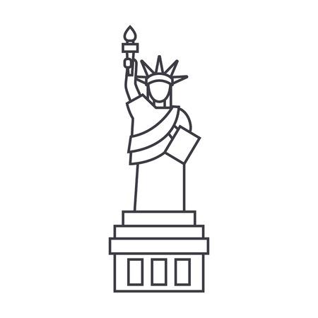 Freiheitsstatue Vektor Liniensymbol, Zeichen, Illustration auf weißem Hintergrund, bearbeitbare Striche