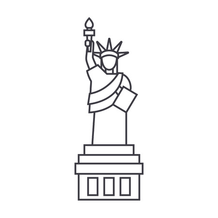 liberty statue  vector line icon, sign, illustration on white background, editable strokes