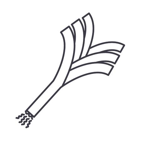 부추 벡터 선 아이콘, 기호, 흰색 배경에 그림 편집 가능한 획 일러스트
