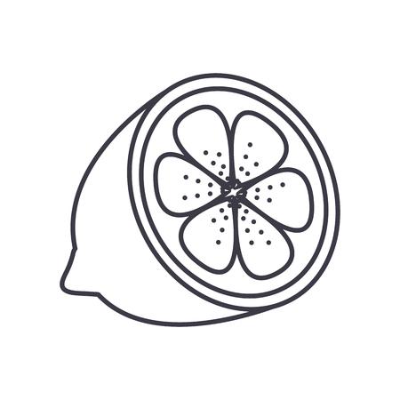 レモン ライン アイコン、記号、白い背景に、編集可能なストロークの図